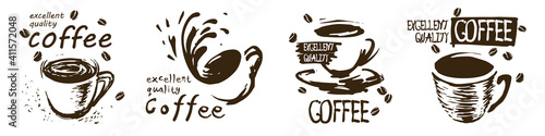 Canvas Vector set of drawn coffee cup logos on white background