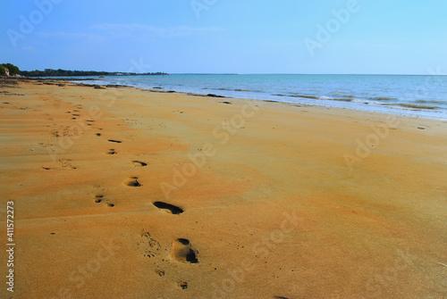 Fotografija Footprints And Pawprints Side By Side In The Sand On Fannie Bay Beach In Darwin,