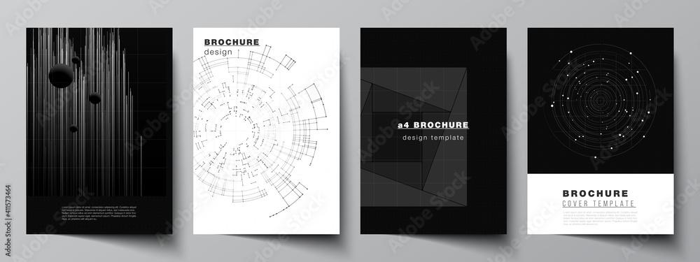 Fototapeta Vector layout of A4 cover design templates for brochure, flyer layout, booklet, cover design, book design. Black color technology background. Digital visualization of science, medicine, tech concept.
