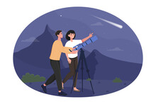 Happy Cute Couple Are Stargazing On A Romantic Night Date. Male And Female Characters Are Watching Stars In Telescope. Boyfriend And Girlfriend. Midnight Park. Flat Cartoon Vector Illustration