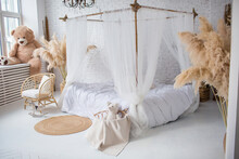 Bamboo Bed With White Canopy