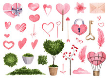 Set Of Cute Pink Valentine's Day Elements. Spring Elements With Green Plants And Pink Delicate Hearts. Great For Stickers, Design And Decoration Of Postcards, Wrappers, Etc