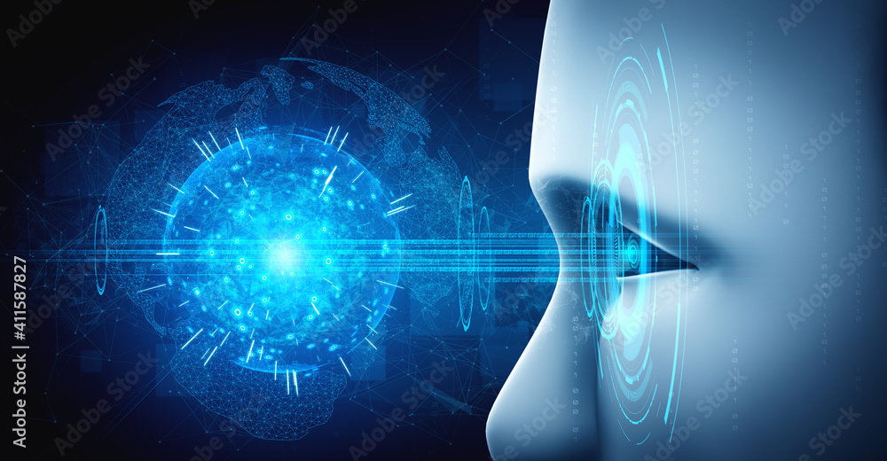Fototapeta Robot humanoid face close up with graphic concept of AI thinking brain , artificial intelligence and machine learning process for the 4th fourth industrial revolution. 3D rendering