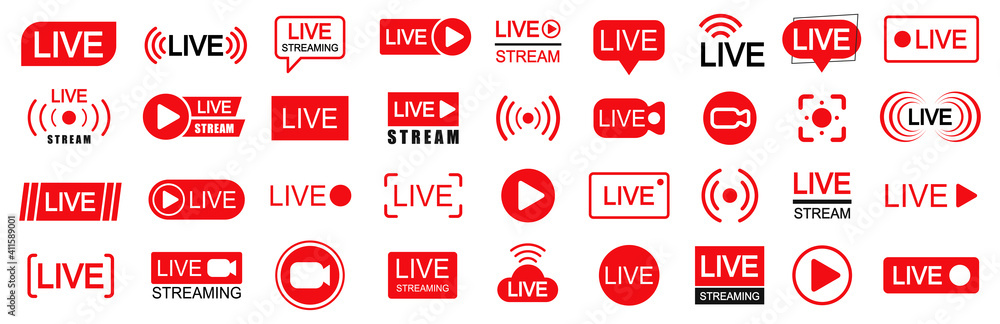 Fototapeta Set of live streaming icons. Set of video broadcasting and live streaming icon. Button, red symbols for TV, news, movies, shows - vector