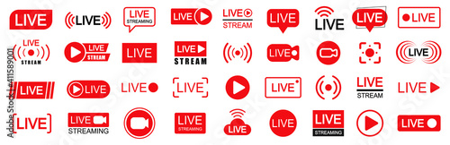 Obraz Set of live streaming icons. Set of video broadcasting and live streaming icon. Button, red symbols for TV, news, movies, shows - vector - fototapety do salonu