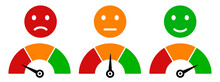 Colored Scale Speed, Emoji Faces Icons, Valuation By Emoticons, Measuring Device Tachometer Speedometer Indicator With Different Colors, Satisfaction Barometer - Vector