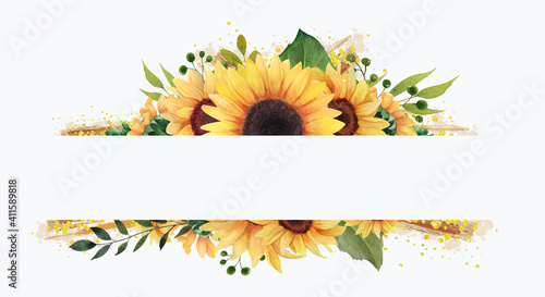Fotografie, Obraz Watercolor sunflower frame, Floral clip art, Sunflower wreath, summer clipart
