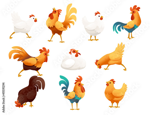 Leinwand Poster Set of adorable cock animal for farm agriculture hen rooster cartoon animal desi