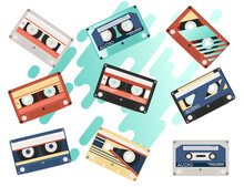 Set Of Retro Audio Cassettes With Different Colorful Patterns Vector Illustration On White Background