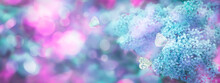 Floral Spring Natural Background With Blue Pink Lilac Flowers And Fluttering Butterflies. Banner With Copy Space