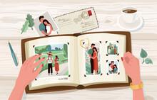 Photo Album With Family Photographs, Vector Illustration In Simple Cartoon Flat Style. Female Hands Holding Open Memorable Book. Top View