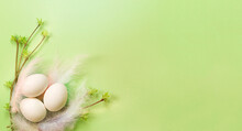 White Easter Eggs In A Delicate Nest Of Colored Feathers With Unfurled Leaf Buds On The Branches. Spring, A Religious Holiday, The Birth Of Life. Copy Space. Pale Green Background