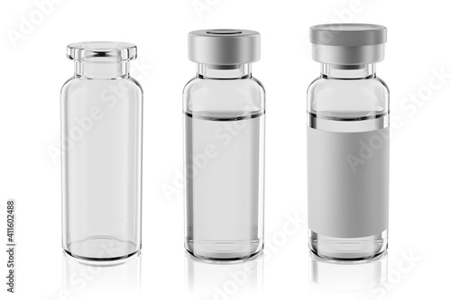 Fotografija Vaccine clear glass injection vials set isolated