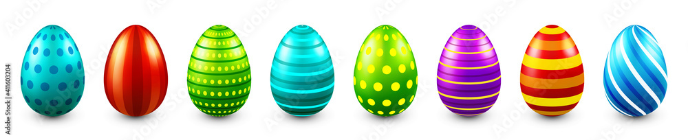 Fototapeta Colorful Easter eggs isolated on white background. Seasonal spring decoration element. Egg hunt game. Vector illustration.