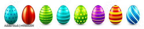 Fototapeta Colorful Easter eggs isolated on white background