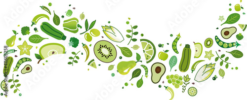 Fototapeta green fruit and vegetables banner – vector illustration. Flat lay of drawn food and ingredients icons isolated on white. Healthy eating, balanced diet or dieting, vegetarian / vegan, detox, nutrition. obraz