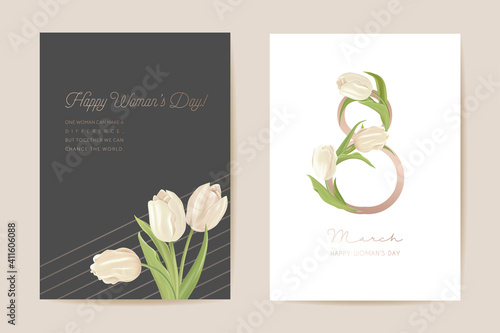 Fototapeta Modern Woman day 8 March holiday card. Spring floral vector illustration. Greeting realistic tulip flowers obraz