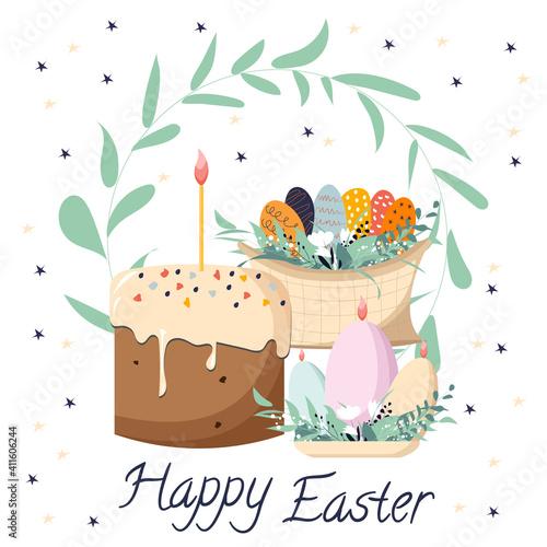Fotografija Happy Easter vector illustration clip art