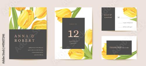 Fototapeta Floral wedding modern tulip vector Invitation. Flower Save the Date set. minimal spring card obraz
