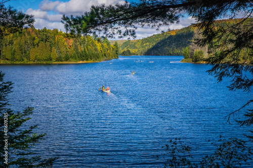 Slika na platnu View on the Wapizagonke lake in Mauricie National Park (Quebec, Canada), on a be