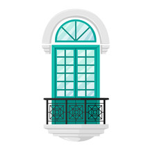 Balcony With Forged Railings, Green Door With Small Windows And Classic Marble Arch. Exterior Architecture Vintage Decor