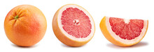 Grapefruit Collection. Grapefruit Citrus Isolated Clipping Path. Organic Grapefruit Macro Studio Photo. Full Depth Of Field