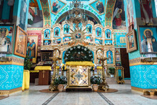 Interior Of An Orthodox Ukrainian Church. Iconostasis And Altar