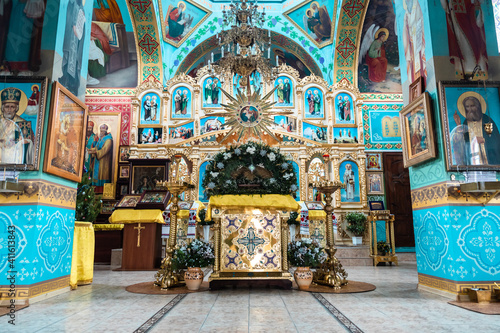 Fotografering Interior of an Orthodox Ukrainian church. Iconostasis and altar