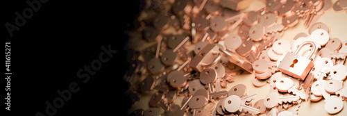 Padlocks with infinite keys, metaphor of problems, solutions  and risk management; original 3d rendering © tostphoto