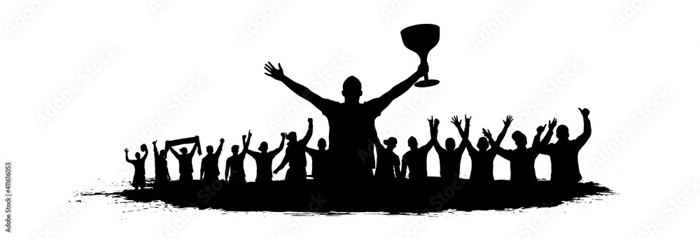Fototapeta Sport victory cup. Cheering crowd fans silhouette. crowd of people sport fans, vector. Cheers of applause