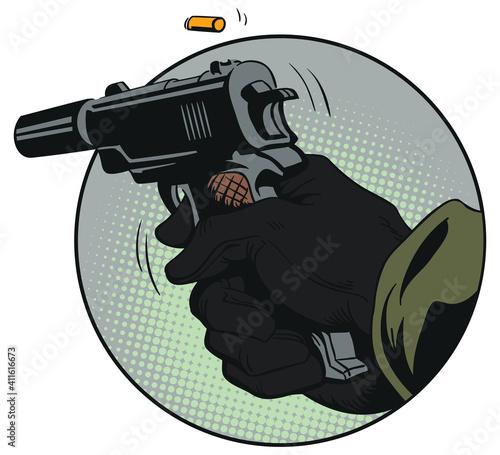 Fototapeta Hand with pistol. Stock illustration. obraz