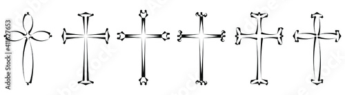 Obraz Vector collection of black ink or paint religion or faith cross symbol set isolated on white background. Abstract christian religious belief or faith art illustration for orthodox or catholic design - fototapety do salonu