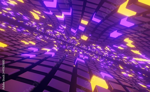 Fotografie, Obraz Cosmic geometric purple bright background