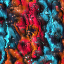 Fantasy Surreal Red Orange And Blue Background In Marble Wavy Luxury Liquid Design