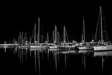 Sailboats In Marina At Night