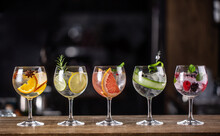 Gin Tonic Long Drink As A Classic Cocktail In Various Forms With Garnish In Individual Glasses Such As Orange, Lemon, Grapefruit, Cucumber Or Berries