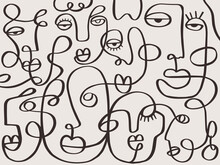 One Line Drawing Abstract Face Abstract Pattern