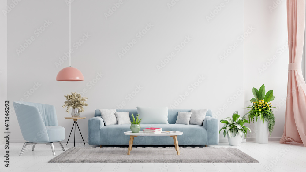 Fototapeta Living room interior wall mockup in bright tones with have sofa and lamp with white wall background.
