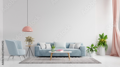 Obraz Living room interior wall mockup in bright tones with have sofa and lamp with white wall background. - fototapety do salonu