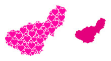 Love Mosaic And Solid Map Of Granada Province. Mosaic Map Of Granada Province Designed With Pink Valentine Hearts. Vector Flat Illustration For Love Concept Illustrations.