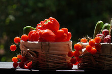 Selective Focus Of An Assortment Of Fresh Vegetables In Baskets