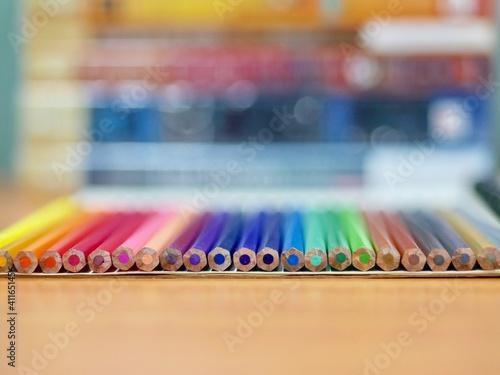Fototapeta Close-up Of Multi Colored Pencils On Table obraz