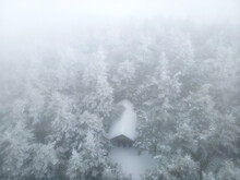 Aerial View Of Shelter In The Pisgah National Forest In Winter