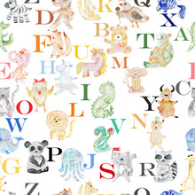 Seamless Pattern With Animals, Birds And Alphabet Letters. Watercolor.