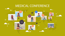 Team Of Arabic Doctors In Web Browser Windows Discussing During Video Conference Medicine Healthcare Concept World Map Background Horizontal Portrait Vector Illustration