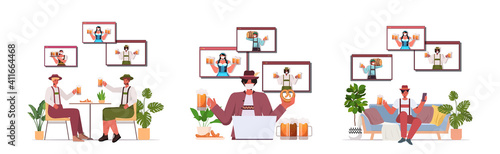 set people in medical masks drinking beer discussing with friends in web browser windows during video call Oktoberfest party celebration coronavirus quarantine horizontal vector illustration © mast3r