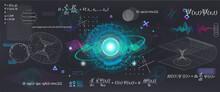Science Elements Set Concept Quantum Mechanics, Formula, Curvature Of Spacetime In A Gravitational Field, Black Hole, Elements From Theoretical Physics. Futuristic Quantum Mechanics. Vector Collection