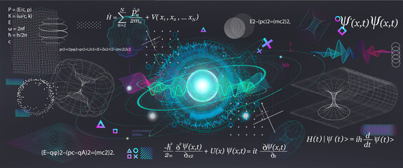 Science elements set concept Quantum Mechanics, formula, curvature of spacetime in a gravitational field, black hole, elements from theoretical physics. Futuristic Quantum Mechanics. Vector collection