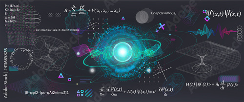 Fototapeta Science elements set concept Quantum Mechanics, formula, curvature of spacetime in a gravitational field, black hole, elements from theoretical physics. Futuristic Quantum Mechanics. Vector collection obraz