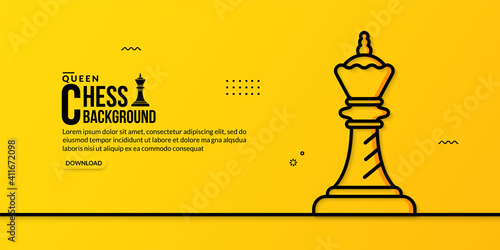 Obraz na plátně Chess queen linear illustration on yellow background, concept of business strate